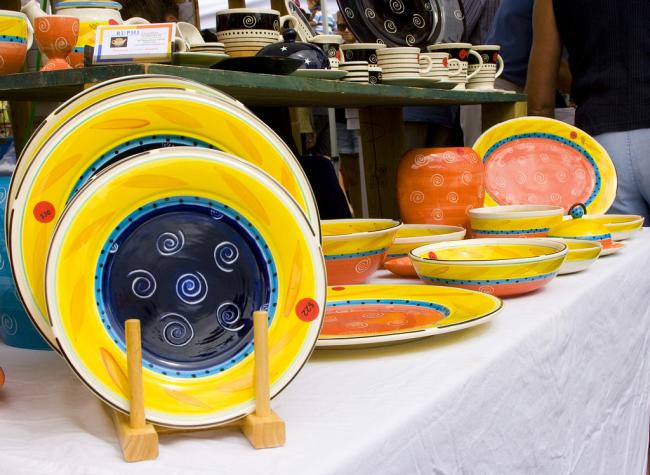 ceramics at Salt Spring Island Saturday market