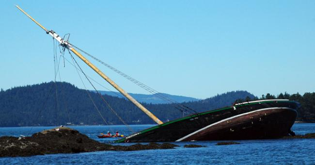 The Robertson II Tall ship schooner lays shipwrecked July 2007 on a reef by Saturna Island