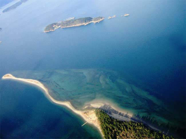 Sidney Spit Gulf Island National Park Reserve British Columbia aerial view