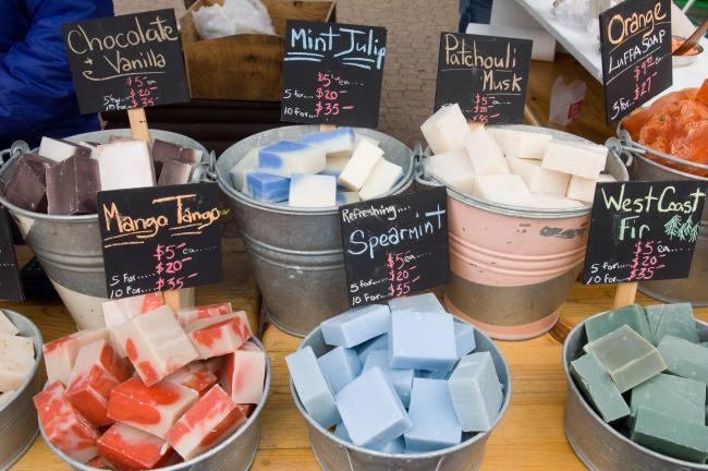 handmade soaps at Salt Spring Island Saturday market